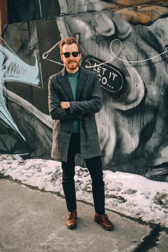 stay classic blogger grey coat charcoal mens coat coat sweater jeans shoes jewels sunglasses