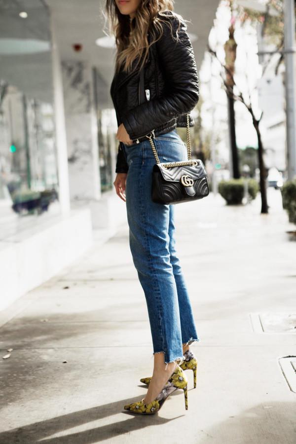 38df7346661d58 pam hetlinger the girl from panama blogger jeans shoes jacket top  sunglasses bag gucci bag pumps