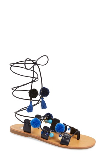 BP. Laney Pompom Lace-Up Sandal (Women) | Nordstrom