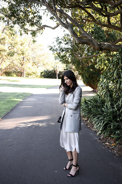 mademoiselle blogger dress jacket shoes bag jewels slip dress silk slip dress sandals high heel sandals blazer grey blazer