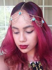 hair accessory,head jewels,gold head chain,gold headpiece