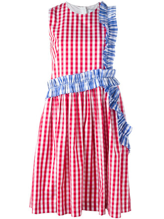 dress ruffle women white cotton gingham