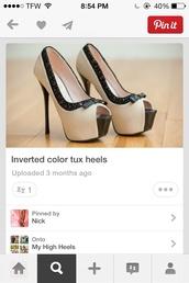 shoes,cream and black heels,high heels,peep toe high heels