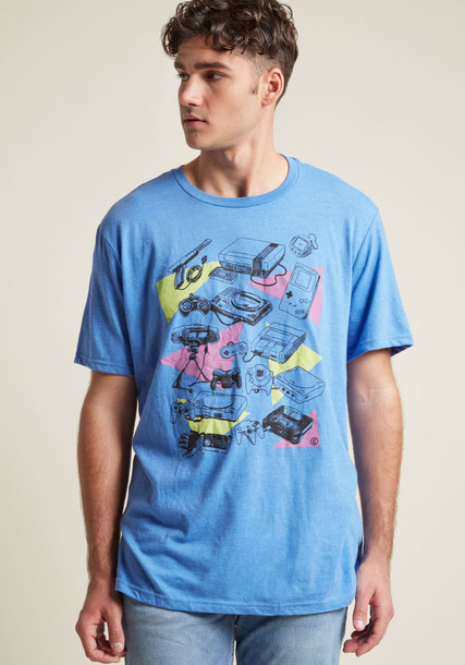 M6557 t-shirt shirt graphic tee t-shirt retro high soft king print blue top
