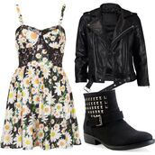dress,sunflower,jacket,leather,studs,silver,girly,outfit,idea,cute,hipster,vintage,look,retro,floral,flowers,pattern,print,boots,shoes,topshop