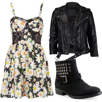 dress sunflower jacket leather studs silver girly outfit idea cute hipster vintage look retro floral flowers pattern print boots shoes