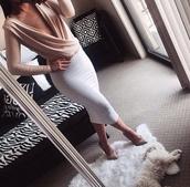 dress,skirt,draped top,satin,nude,white skirt,long skirt