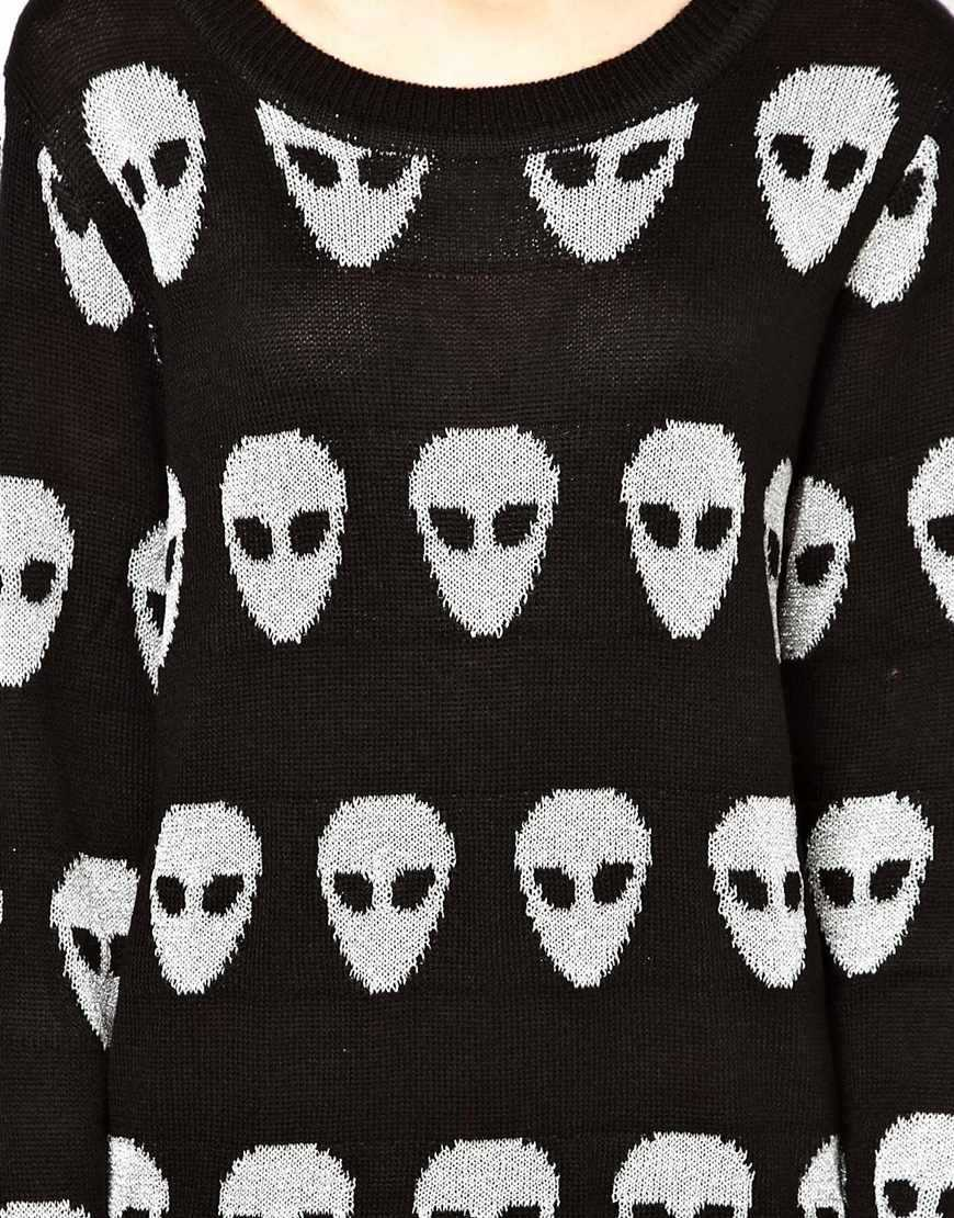 2013 European and American female alien skull avatar black and white long sleeved knit long sweater long section 23 8121-in Apparel & Accessories on Aliexpress.com