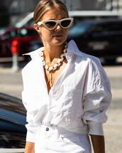 white shirt,long sleeves,oversized,necklace,white sunglasses,white jeans