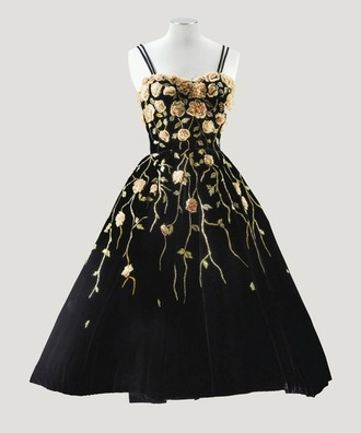 dress roses black beautiful pretty prom dress