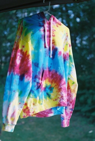 colorful hippie yellow t-shirt sweater tie dye tie dye sweater