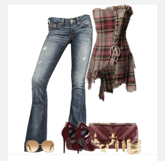 asymmetrical shirt corset corset top plaid torn uneven hem