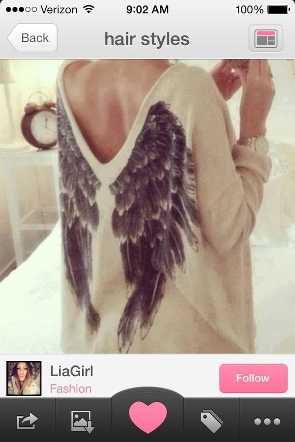 sweater wings top angel wings