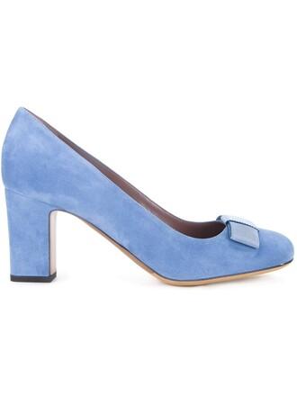 women pumps blue suede shoes