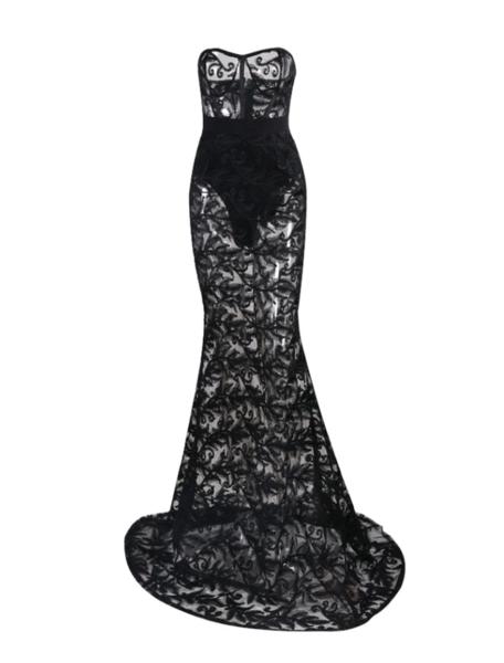 floor length applique dress