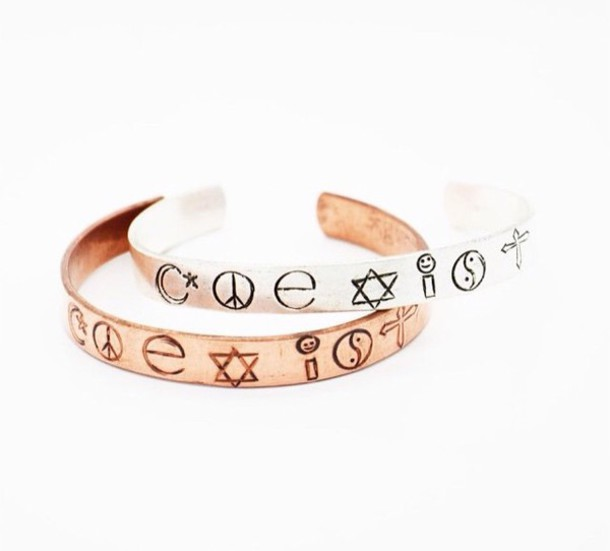 jewels copper gold jewelry coexist bracelets
