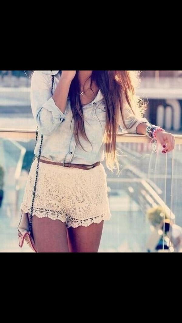 shorts lace shorts white lace shorts denim shirt bag jewlry shirt
