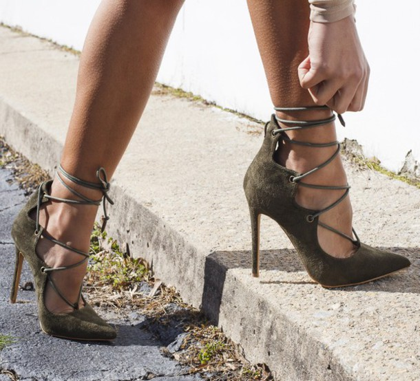 3642b46cbdd shoes green heels olive green olive green heels lace up heels lace up pumps  pumps