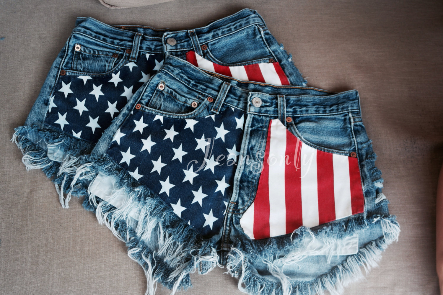 high waisted denim shorts American flag distressed ripped frayed ...