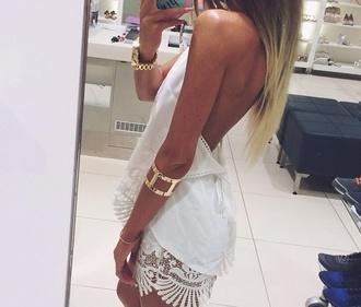 dress white dress hippie boho boho chic lace dress lace top dress backless dress summerdress summer dress white flowy beachy simple fashion
