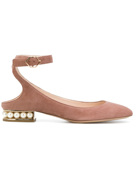 Nicholas Kirkwood women pearl leather nude suede shoes