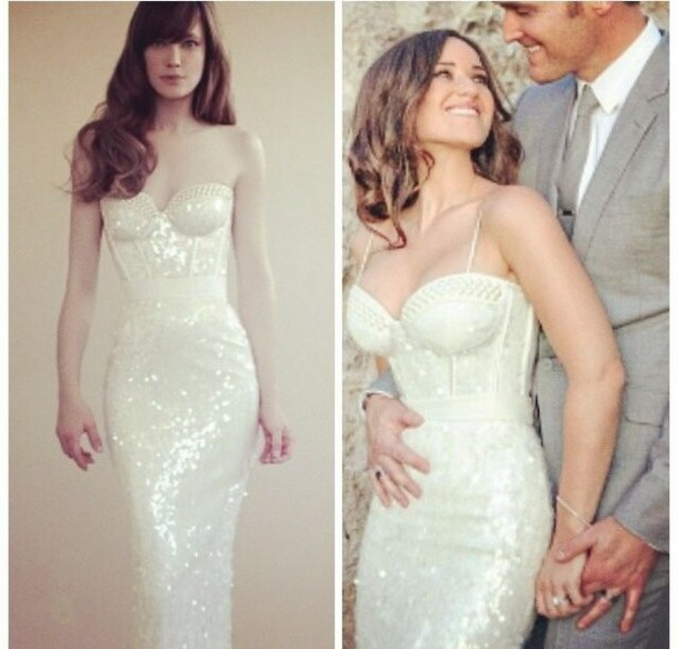 Form Fitting Wedding Gowns: Dress: White Dress, Sequin Dress, Sequins, Sexy, Form