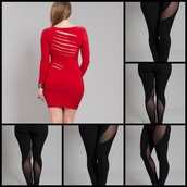 red dress,dress,sexy,mini dress,cute dress,girly,long sleeve dress,fall outfits,tumblr outfit,tumblr,tumblr girl,hot,party,party dress,tights,curvy