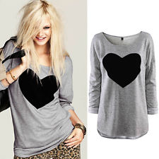 Stylish Womens Round Neck Love Heart Printed Long Sleeve T-shirt Tops Cotton Tee