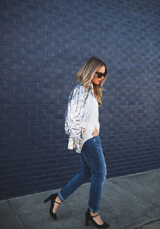 jeans tumblr sequins sequin jacket sweater white sweater denim blue jeans cuffed jeans pumps high heel pumps shoes black shoes heels high heels sunglasses