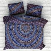 home accessory,mandala bedding set,mandala duvet cover,mandala quilt cover,mandala donna cover,mandala comforter cover,indian bedding set,cotton duvet cover,bedroom,home decor,wedding gift,blue,holiday gift,gift ideas,indian style organic duvet cover,mandala bedding set with matching pillows