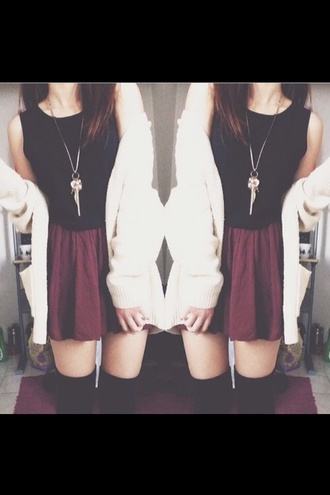 jacket black white red top cardigan knit sweater skirt gold necklace jewellery kneehighsocks socks pretty