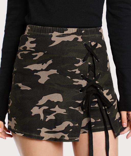 skirt girly mini mini skirt lace lace up camouflage
