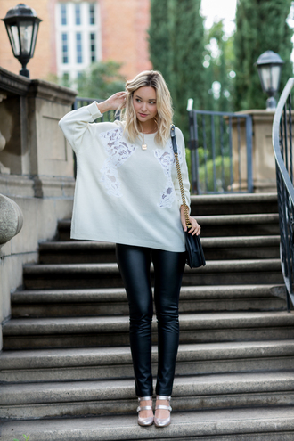 late afternoon blogger sweater leggings shoes bag jewels