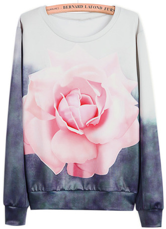 sweater rose fashion flowers grey pink girly