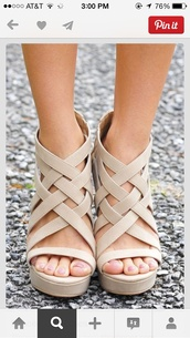 shoes,heels,wedges,strappy shoes,strappy heels,cream shoes,cute shoes