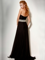Buy Tempting Black A-line Strapless Sweep Train Chiffon Prom/Evening Dress  under 200-SinoAnt.com