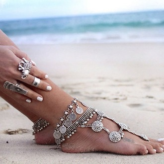 jewels foot foot bracelet bracelets coins old silver jewelry necklace beach summer boho bohemian grunge hipster vintage internet tumblr tumblr outfit dealsforyou cute blue fashion vogue chanel girl silver jewelry