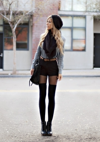 blouse blue shirt hipster black combat boots shorts scarf shoes infinity scarf black