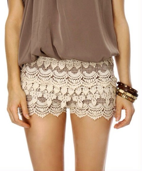 crochet pants crochet shorts white crochet cream rusty brown