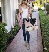 top,pink cardigan,tumblr,camisole,white camisole,cardigan,denim,jeans,peep toe heels,heels,bag,woven bag