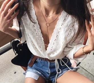 blouse top necklace boho blogger gypsy white lace fashion toast rumi neely 70s style jewels