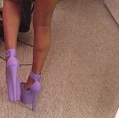 shoes,heels,platform shoes,purple,lilac,straps