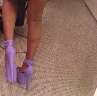shoes heels platform shoes purple lilac straps