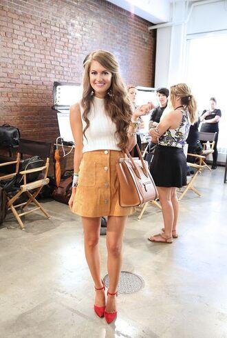 skirt camel suede skirt camel skirt mini skirt suede skirt top white top sleeveless top crop tops bag camel bag celine bag celine shoes orange shoes