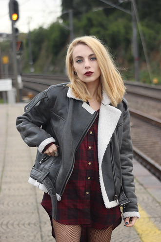 jacket shearling jacket tights net flannel shirt black shearling jacket fishnet tights