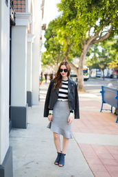 m loves m,blogger,top,jacket,jewels,sunglasses,make-up,nail polish,ruffle,striped sweater,asymmetrical,fall outfits,leather jacket,perfecto