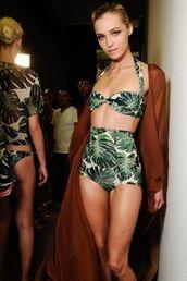 swimwear,bikini,palm tree print,palm leaf,palm leaves,green,white,high waisted bikini,model,highwaist bikini bottom,need this!!!