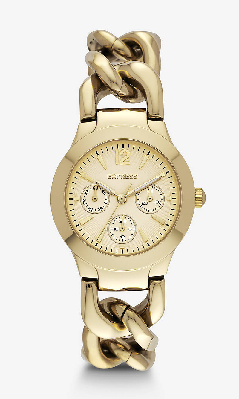 MULTI-FUNCTION CHAIN LINK BRACELET WATCH - GOLD from EXPRESS