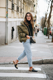 jacket,glasses,tumblr,army green jacket,puffer jacket,denim,jeans,light blue jeans,cuffed jeans,shoes,black shoes,top,sweater,black sweater,turtleneck,turtleneck sweater,bag,black bag