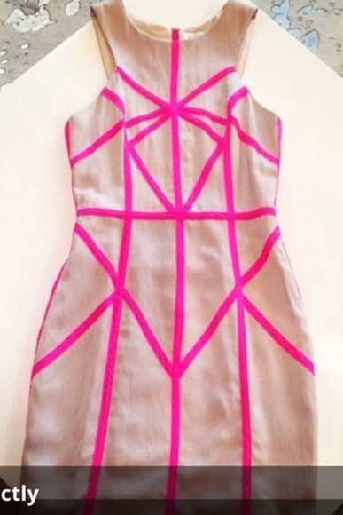 dress clothes nude tan dress pink lines